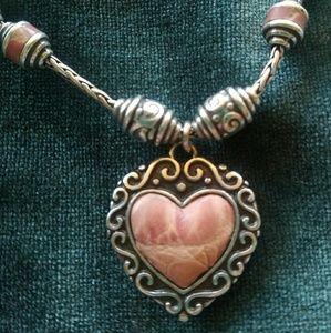 Brighton Park Avenue Pink leather silver necklace
